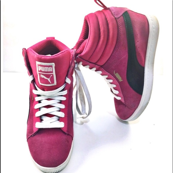Puma Shoes   Pink Suede High Tops